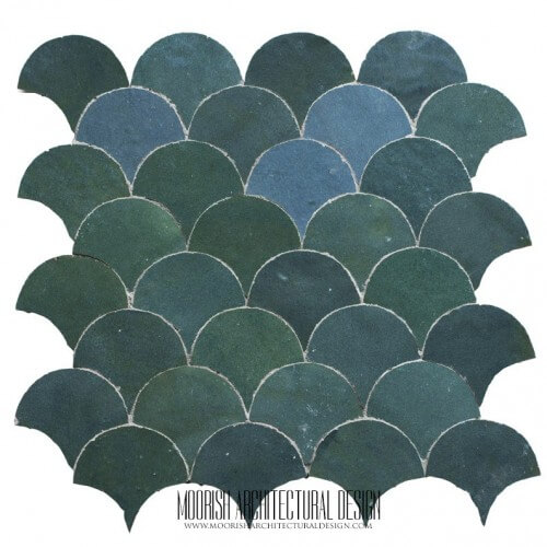 Teal Blue Fish Scales Tile