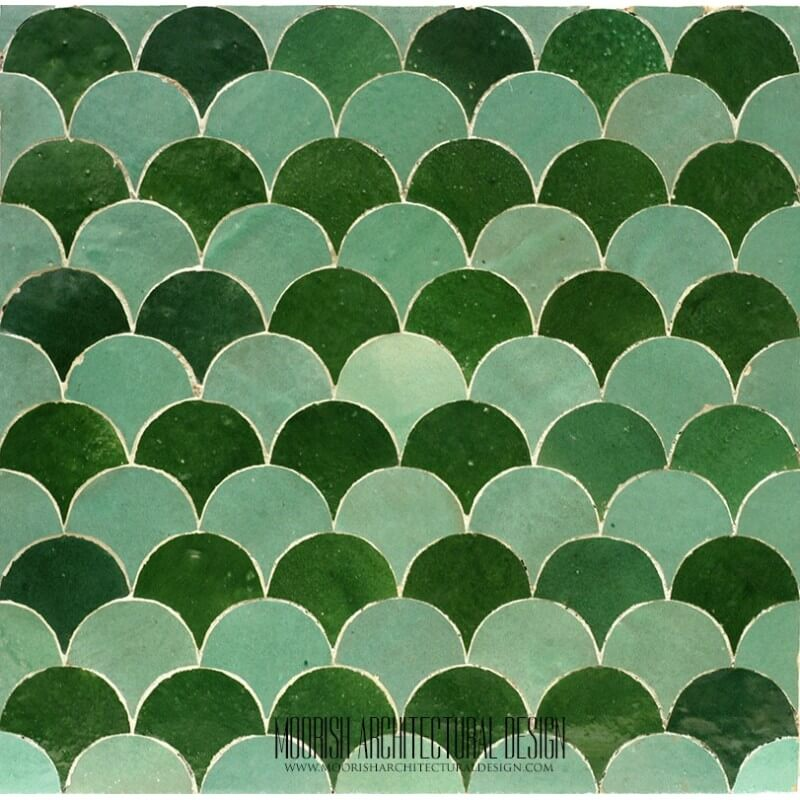 Green Moroccan fish scales mosaic tile