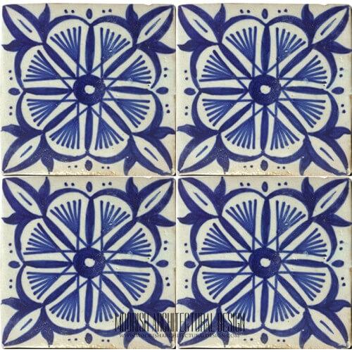 Mediterranean blue ceramic tile bathroom for Fez tiles
