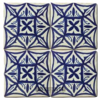 Blue Moorish shower floor tile