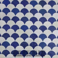 Blue Fish Scales checkerboard Tile