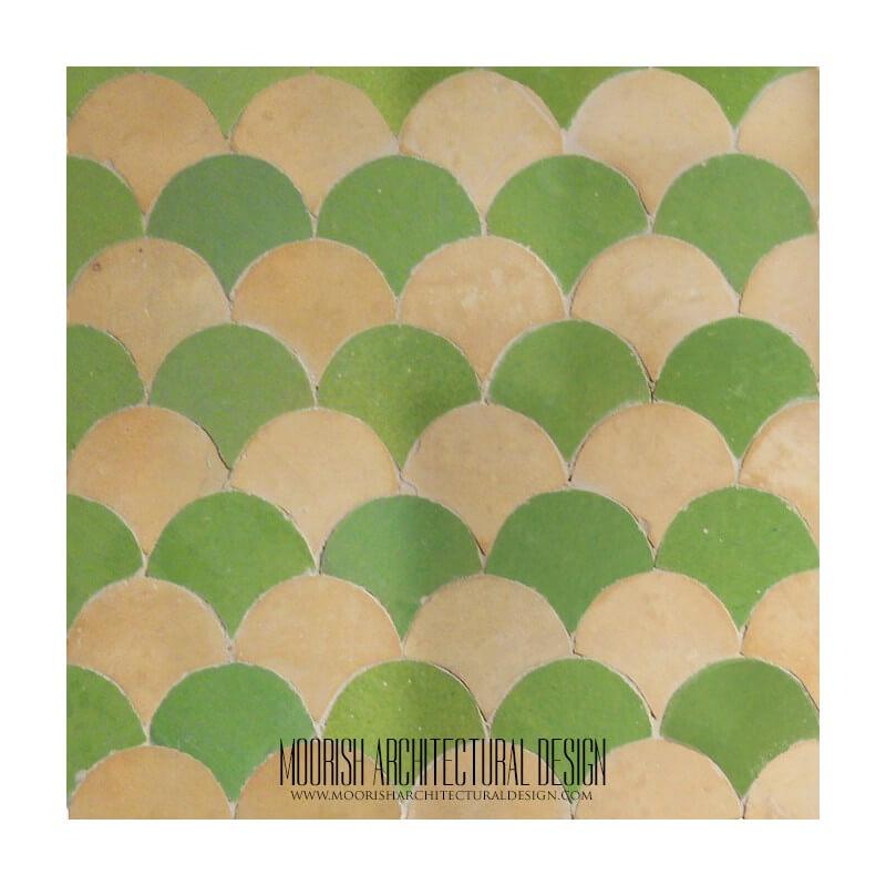 Green Tan Fish scales Tile