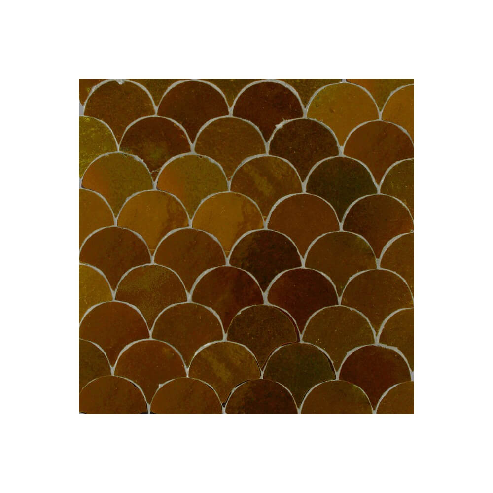 Brown Moroccan Bathroom Tiles Fish Scales Mosaic