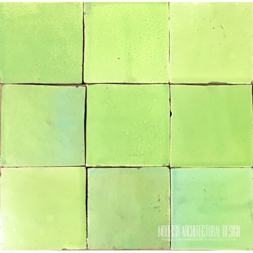 Melon green pool tiles