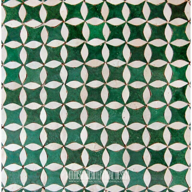 Green White Moroccan Tile