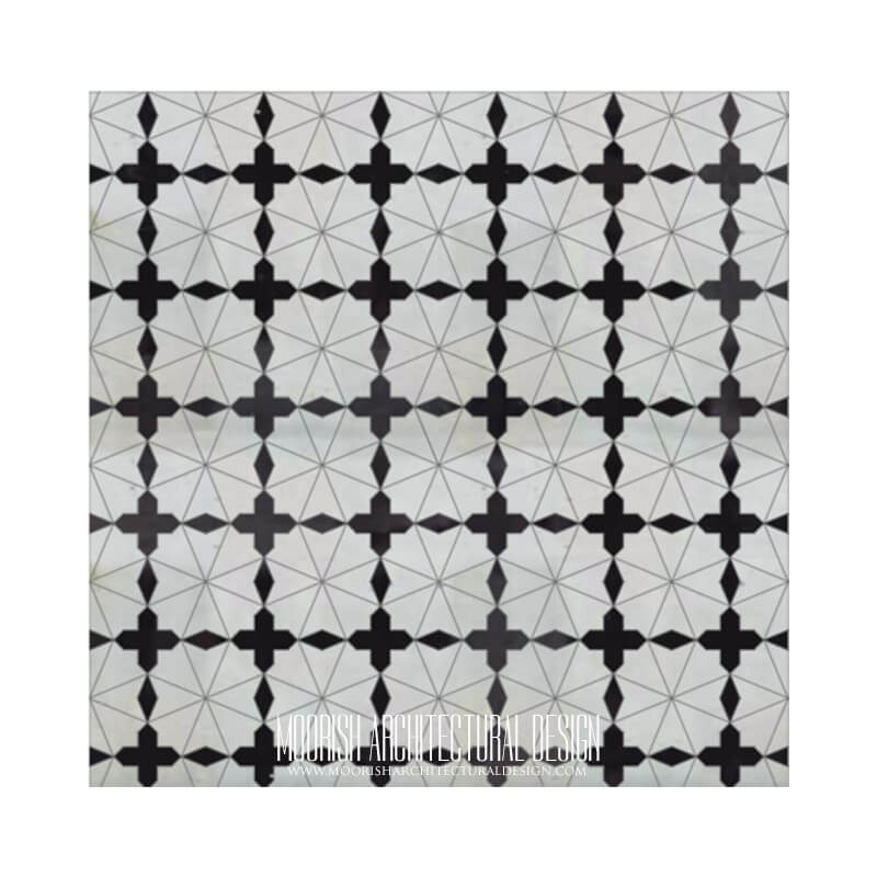 Moroccan Black and White Kitchen tile
