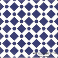 Blue and White Moroccan tile pattern