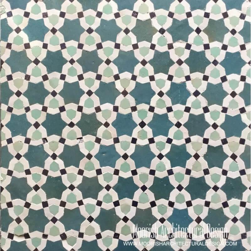 Teal Blue Moroccan Tile Pattern