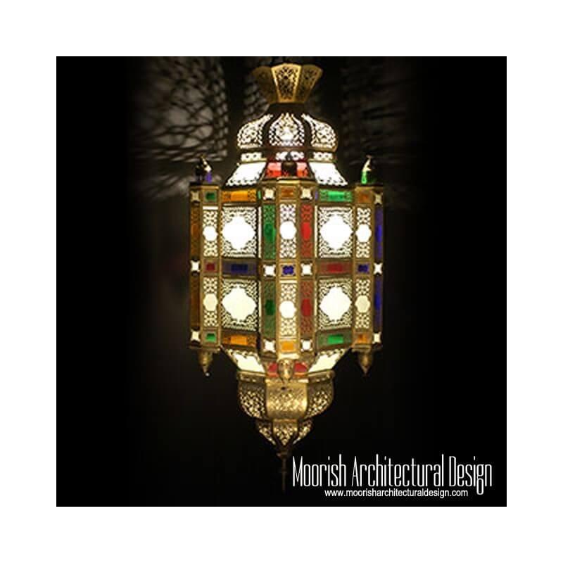 Colored Glass Moroccan Lantern