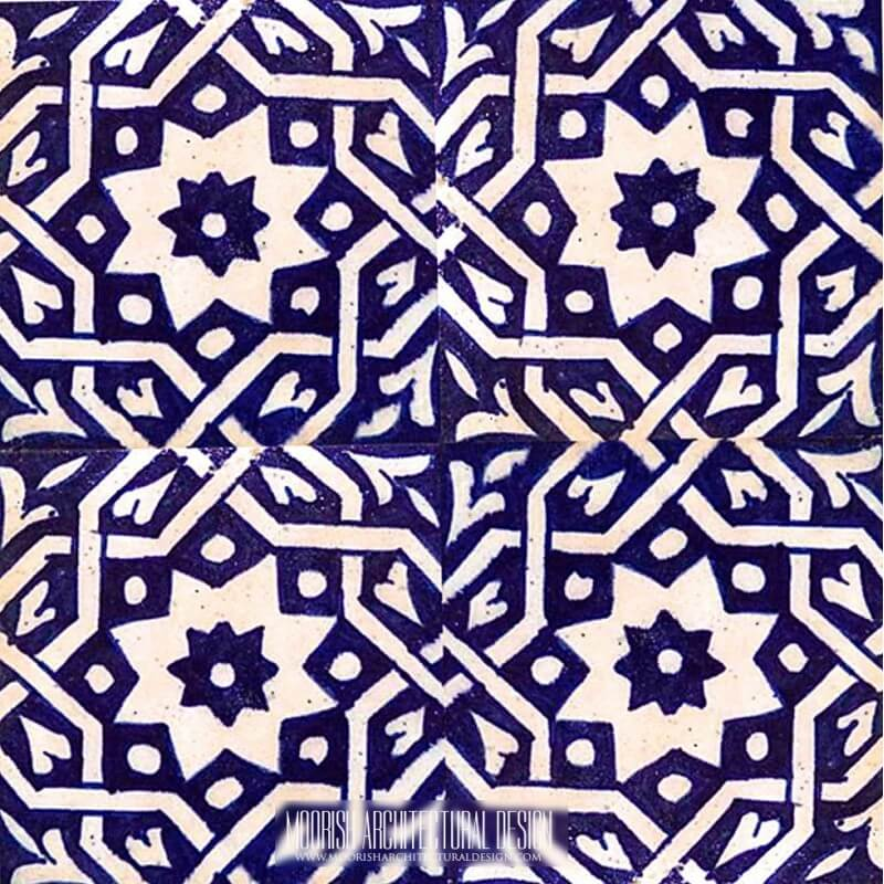 Blue Moroccan shower wall tile