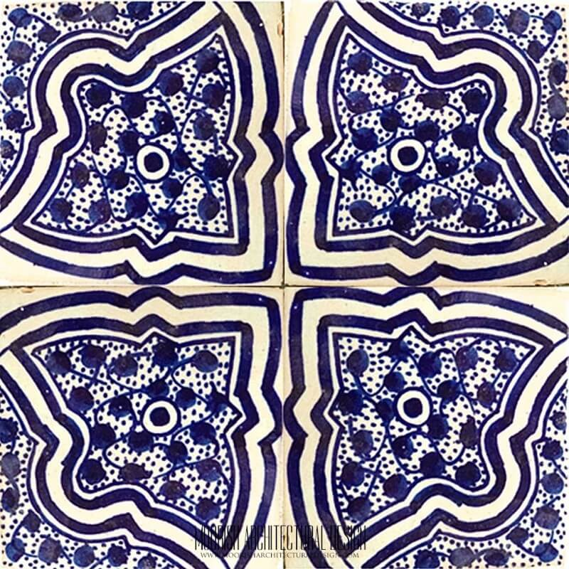 Blue Moorish shower wall tile