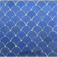 Blue Moroccan fish scales bathroom tile