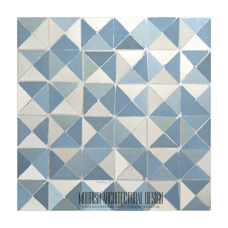 Blue Moroccan mosaic bathroom floor tile