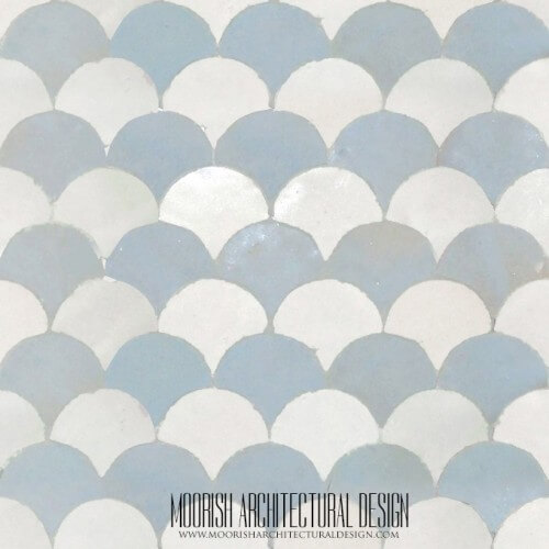 Blue & White Fish Scales Tile