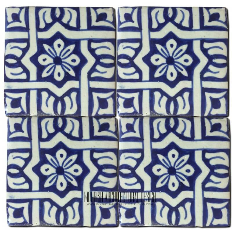 Blue Moroccan Bathroom Floor Tile