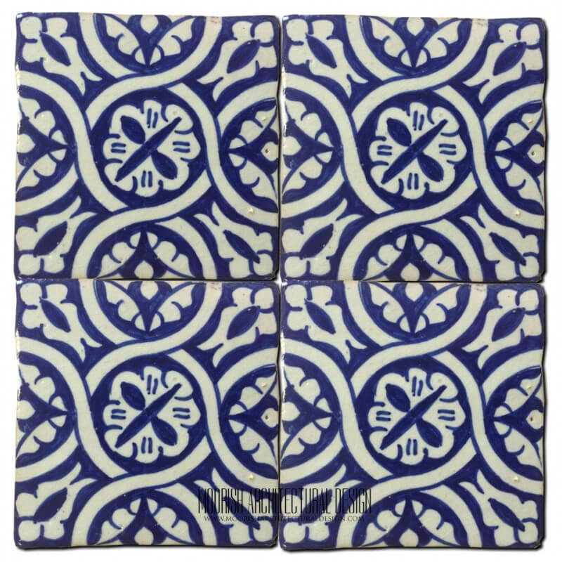 Blue Moorish Ceramic Bathroom Wall Tile