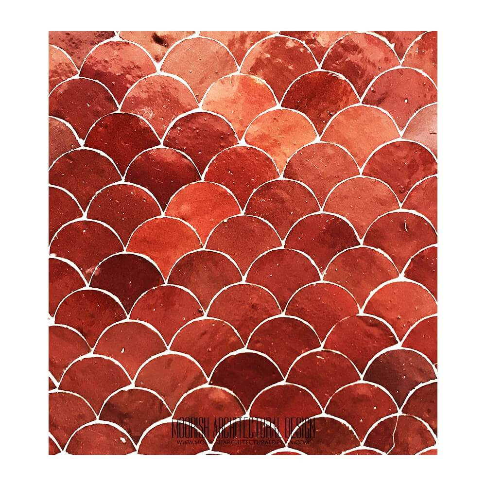 Zellige Tile Red Moroccan Fish Scales Mosaic Tile