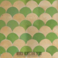 Green Tan Fish scales Tile
