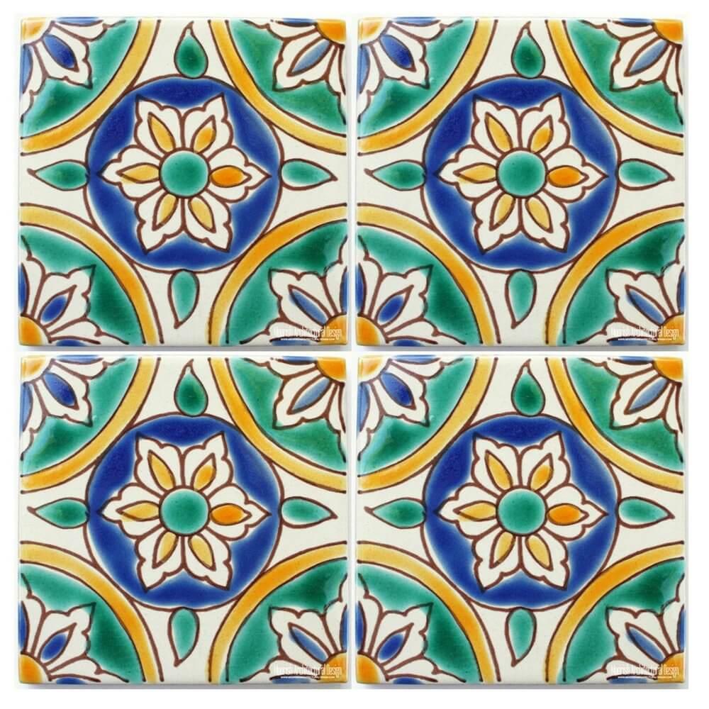 Green Mediterranean Ceramic Tile Green Spanish Colonial
