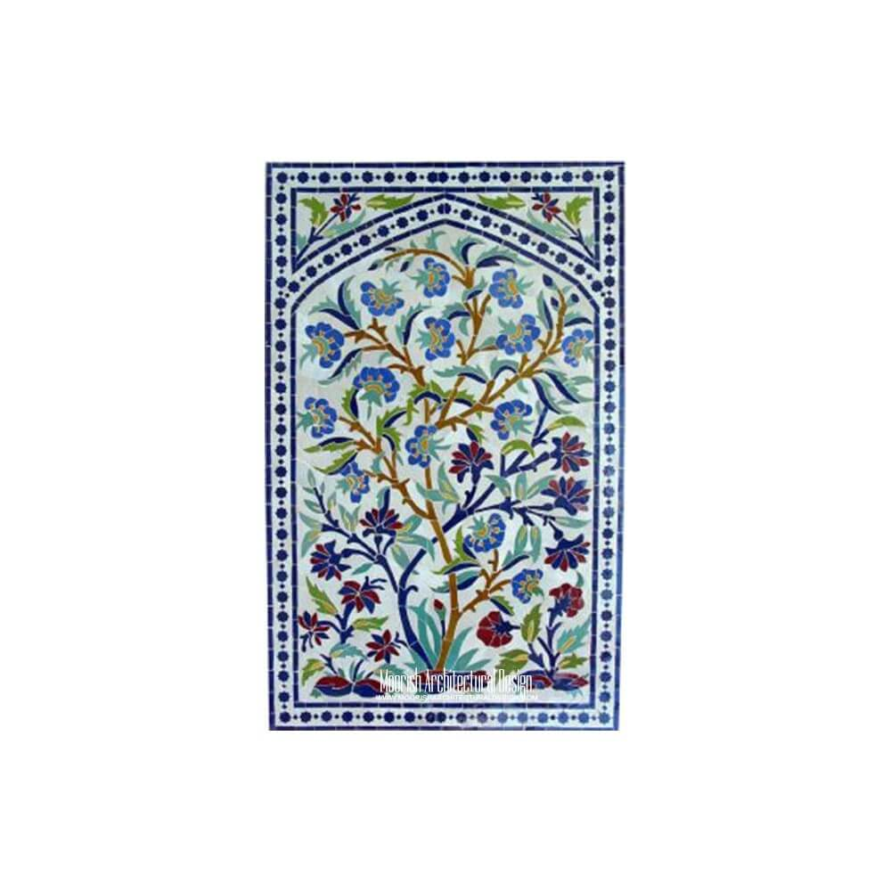 Kitchen backsplash mosaic tile mural moroccan kitchen tiles for Clay tile mural