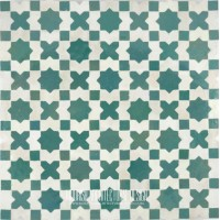Green and White Moroccan Tile