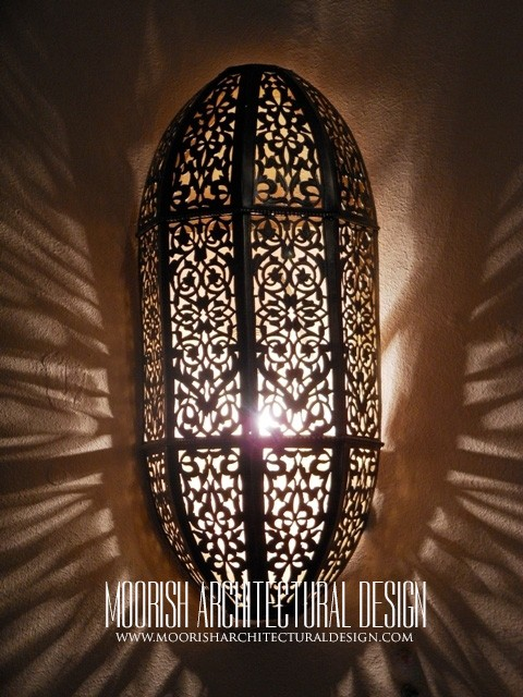 Moroccan wall sconce moroccan pierced metal wall lights aloadofball Images