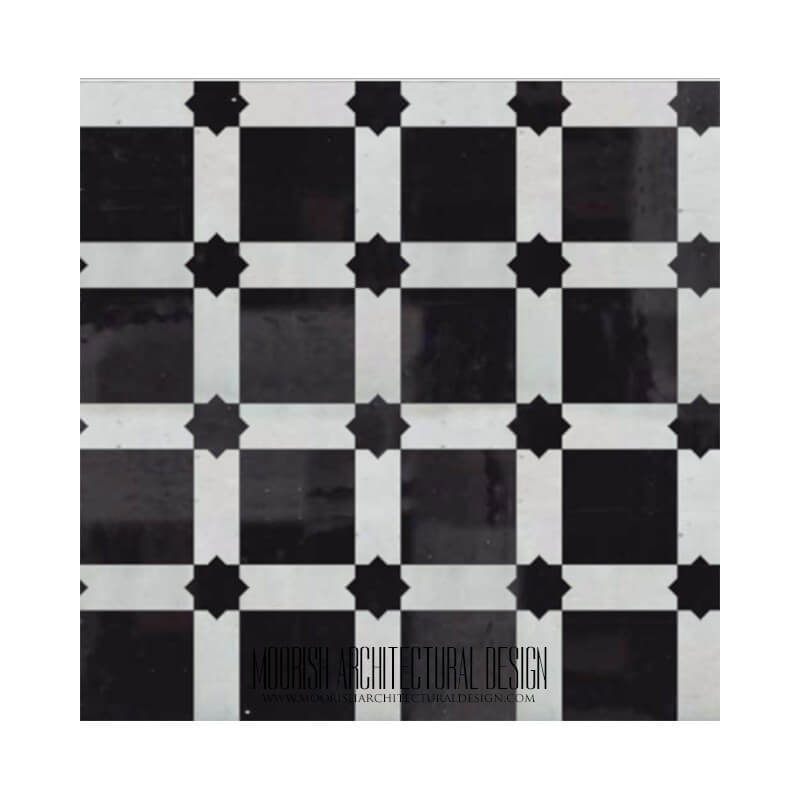 black and White Kitchen zellige tiles