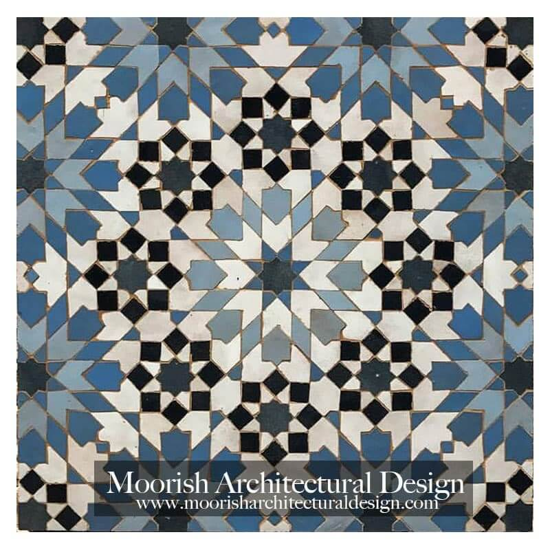 Blue Moroccan kitchen tile