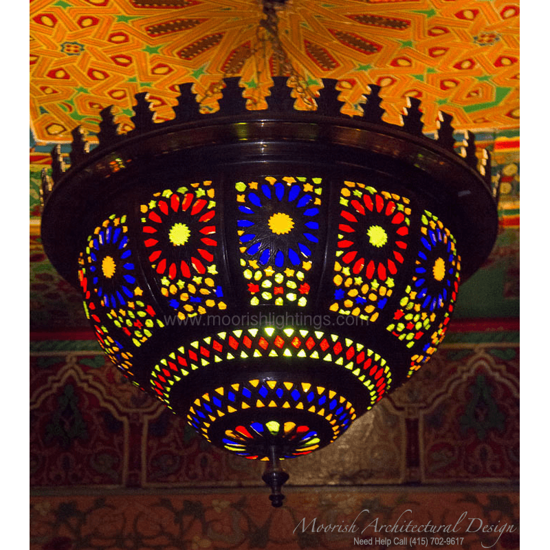 Moorish Pierced Brass Pendant Light