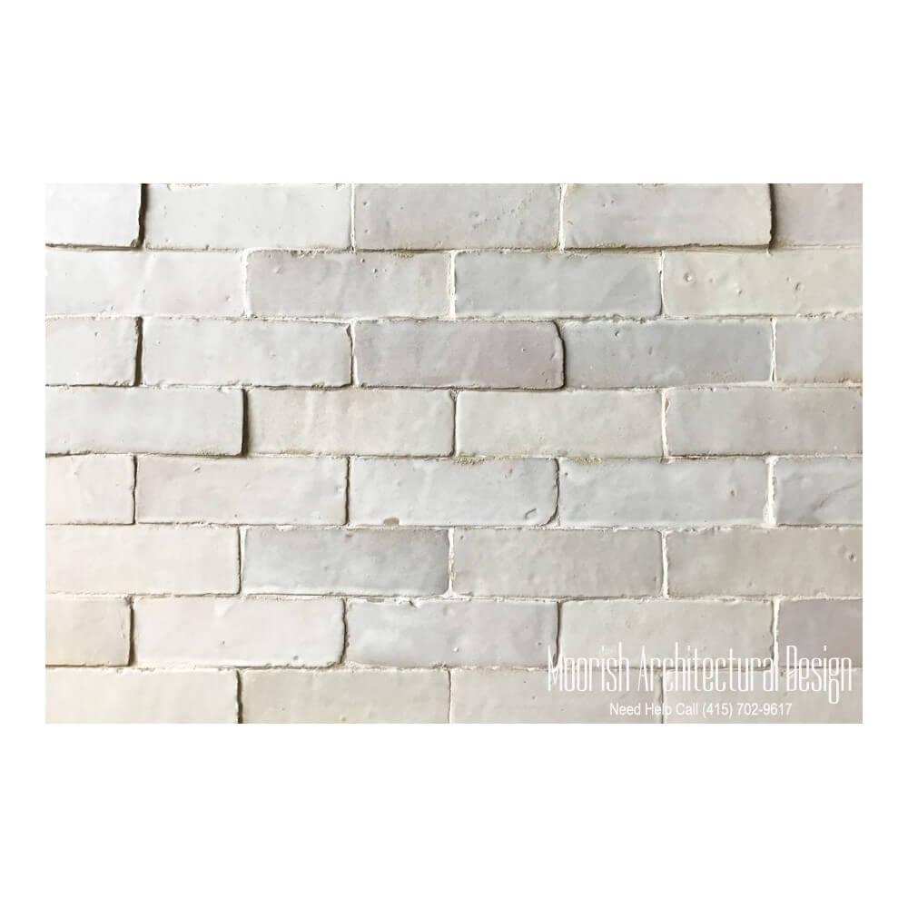 White Moroccan Subway Tiles White Bejmat Brick Tiles