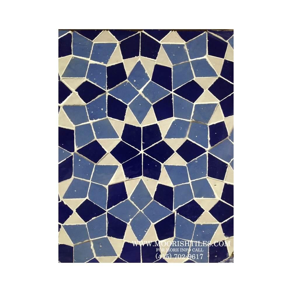Blue Moroccan mosaic tile | Moorish pool tiles