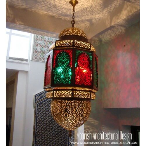 Moroccan colored glass lantern