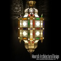 Colored Glass Moroccan Lantern