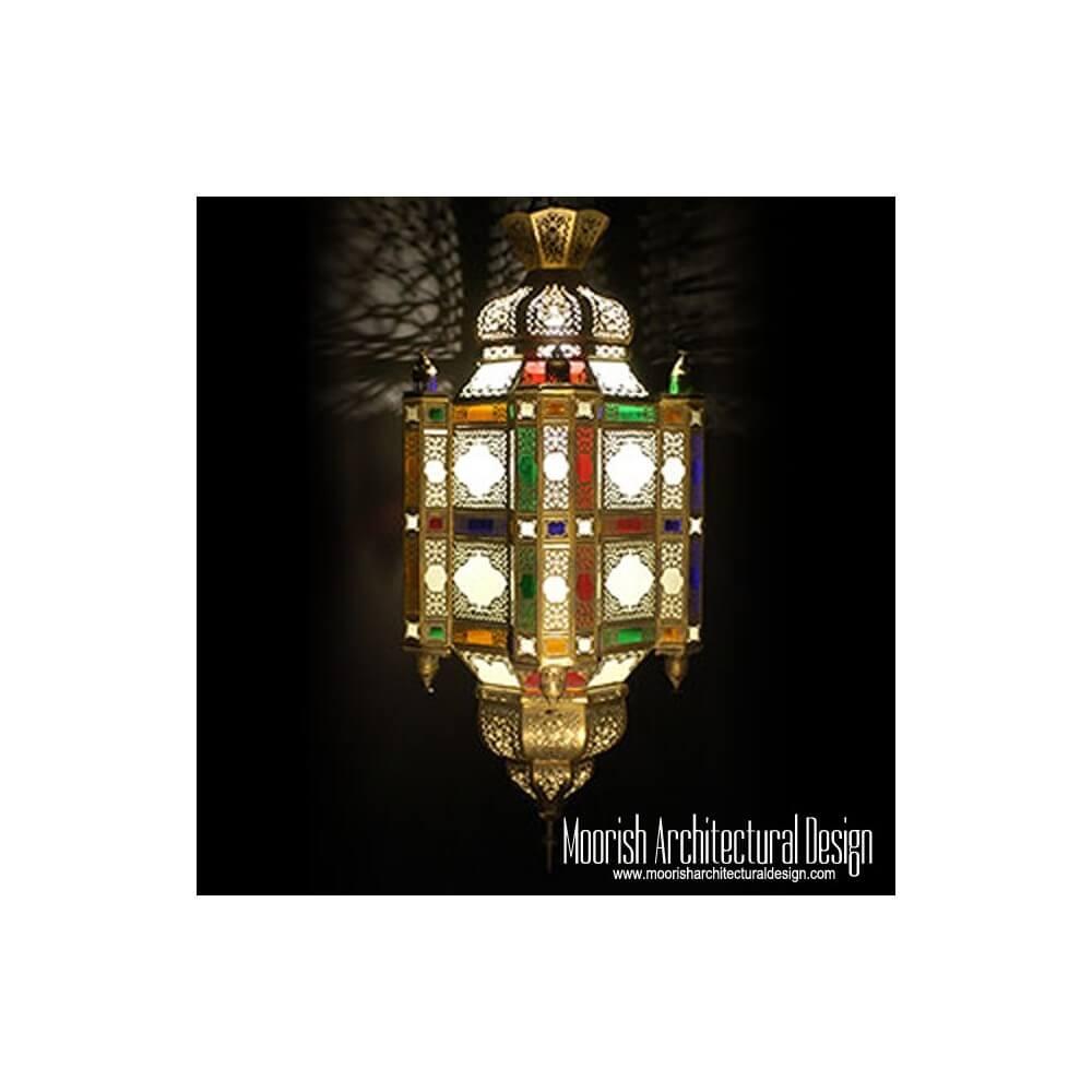 Colored Glass Moroccan Lantern Moorish Hanging Light